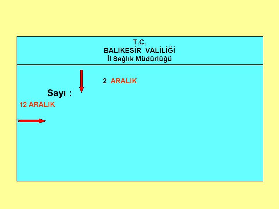 T.C. BALIKESİR VALİLİĞİ İl Sağlık Müdürlüğü