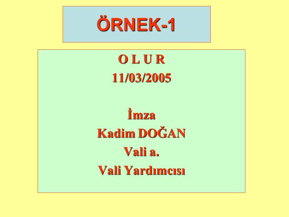 ÖRNEK-1 O L U R 11/03/2005 İmza Kadim DOĞAN Vali a. Vali Yardımcısı