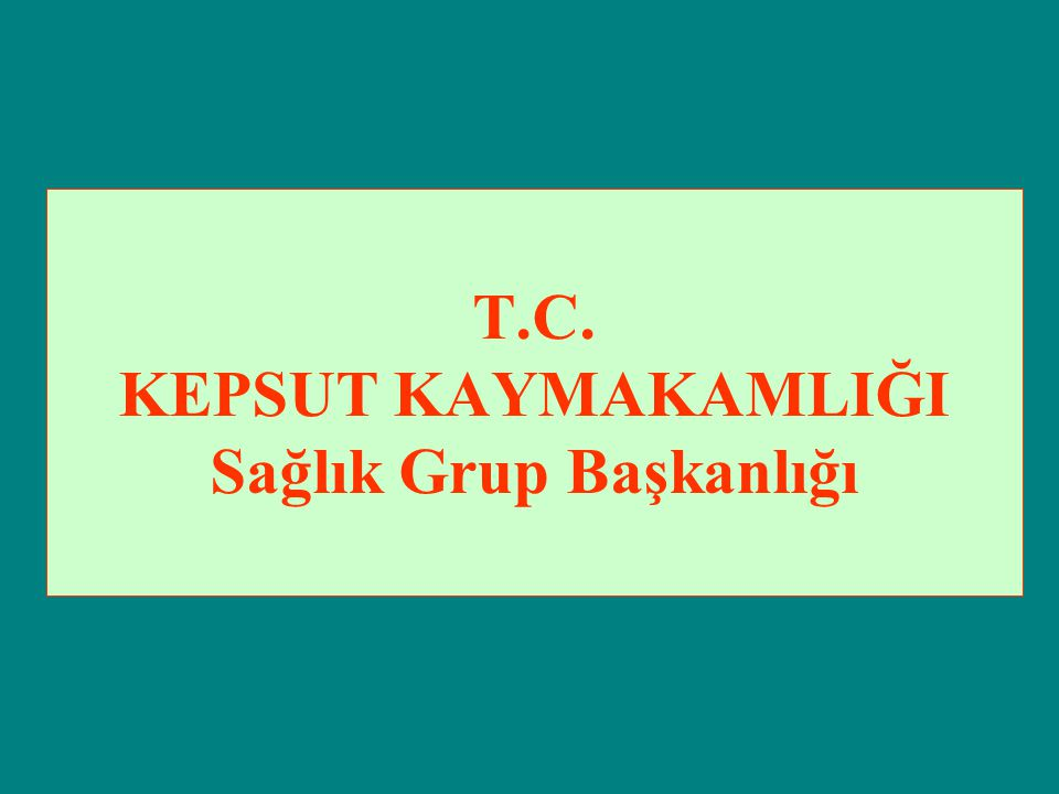 T.C. KEPSUT KAYMAKAMLIĞI Sağlık Grup Başkanlığı