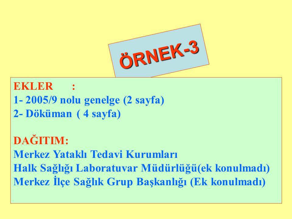 ÖRNEK-3 EKLER : 1- 2005/9 nolu genelge (2 sayfa) 2- Döküman ( 4 sayfa)