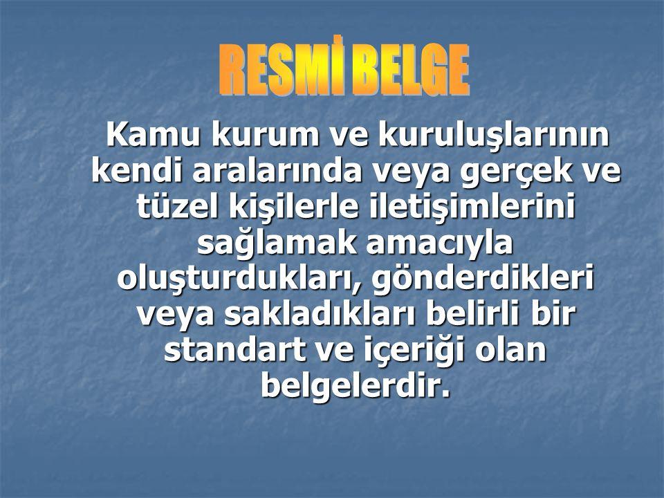 RESMİ BELGE