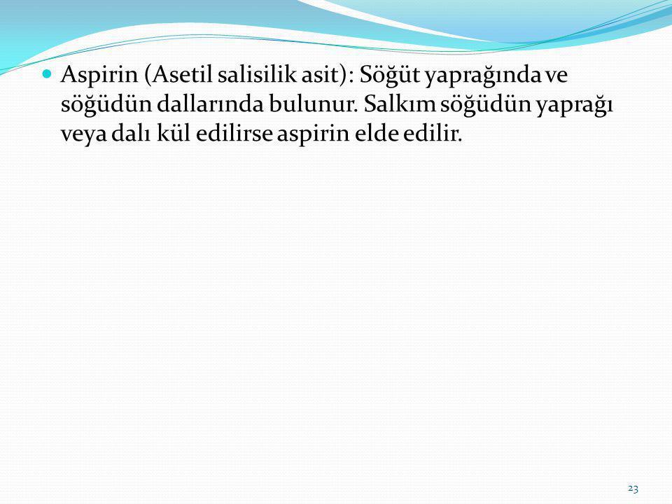 Aspirin (Asetil salisilik asit): Söğüt yaprağında ve söğüdün dallarında bulunur.