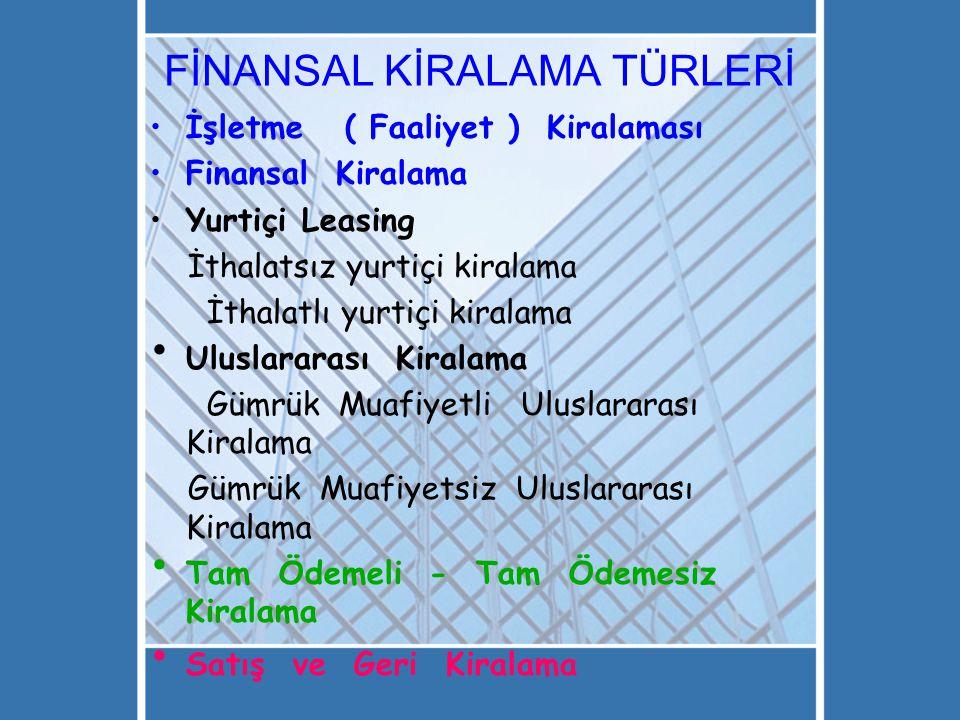 FİNANSAL KİRALAMA TÜRLERİ