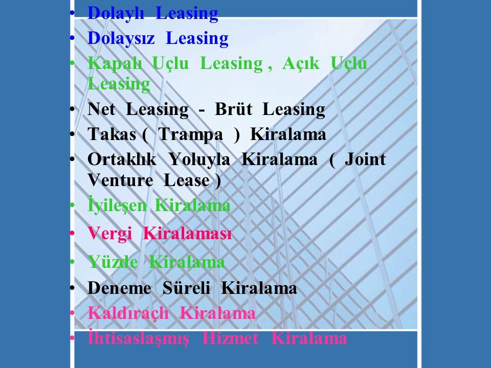 Dolaylı Leasing Dolaysız Leasing. Kapalı Uçlu Leasing , Açık Uçlu Leasing. Net Leasing - Brüt Leasing.