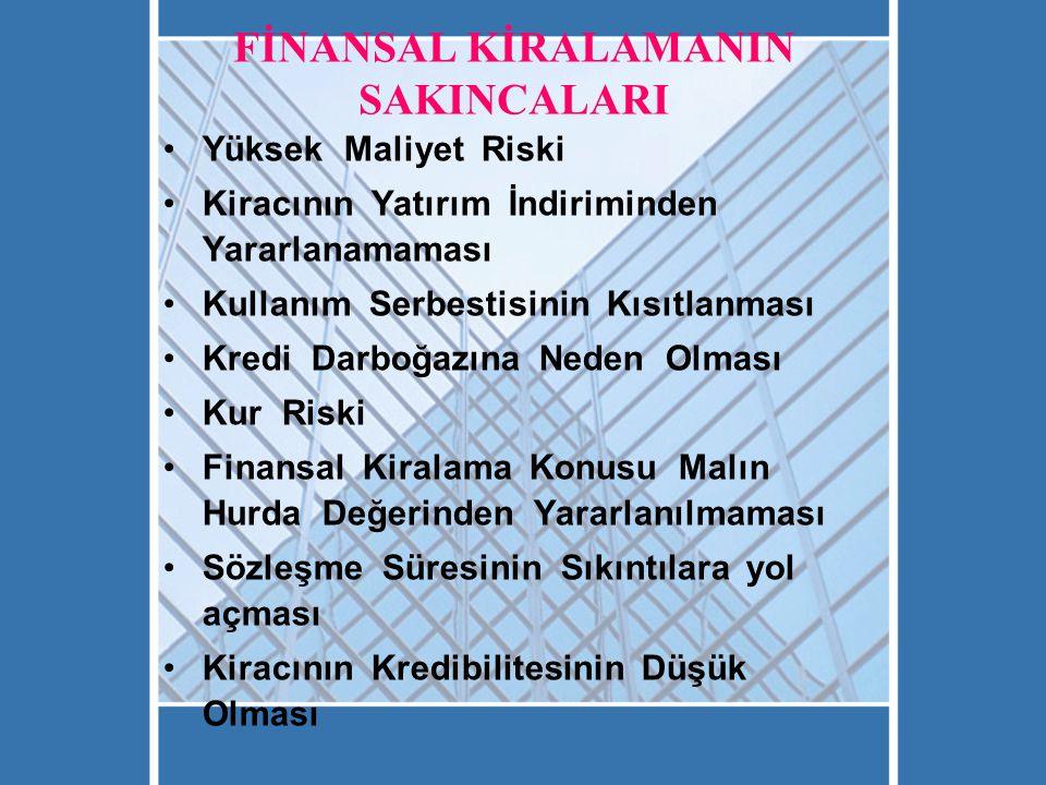 FİNANSAL KİRALAMANIN SAKINCALARI