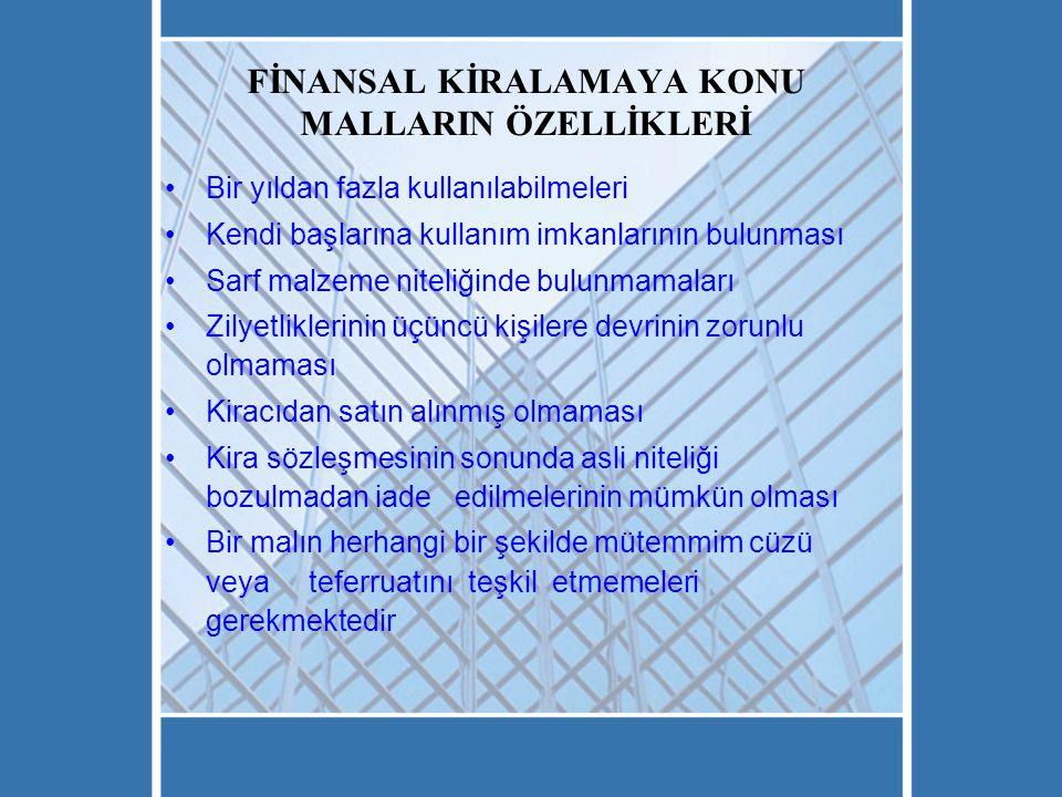 FİNANSAL KİRALAMAYA KONU MALLARIN ÖZELLİKLERİ
