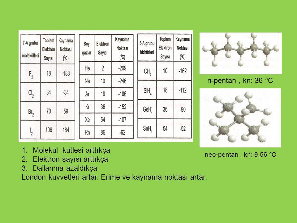 Molekül kütlesi arttıkça Elektron sayısı arttıkça Dallanma azaldıkça