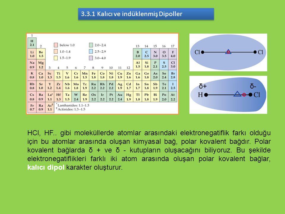 3.3.1 Kalıcı ve indüklenmiş Dipoller