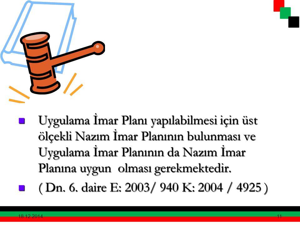 Uygulama İmar Planı yapılabilmesi için üst ölçekli Nazım İmar Planının bulunması ve Uygulama İmar Planının da Nazım İmar Planına uygun olması gerekmektedir.
