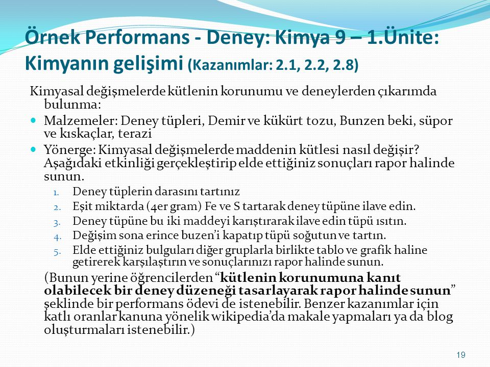 Örnek Performans - Deney: Kimya 9 – 1