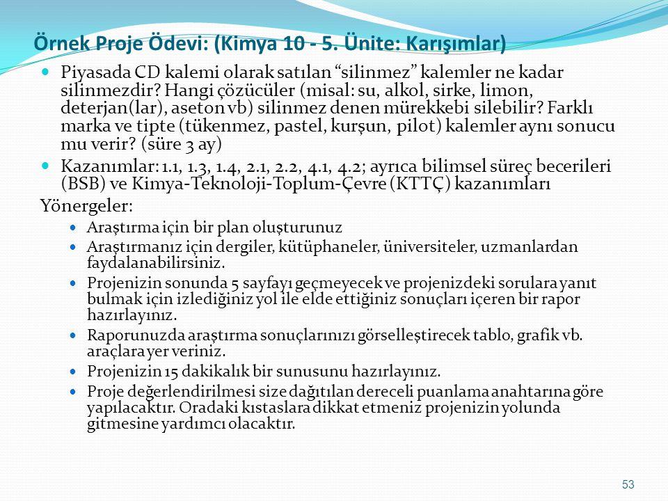 Örnek Proje Ödevi: (Kimya 10 - 5. Ünite: Karışımlar)