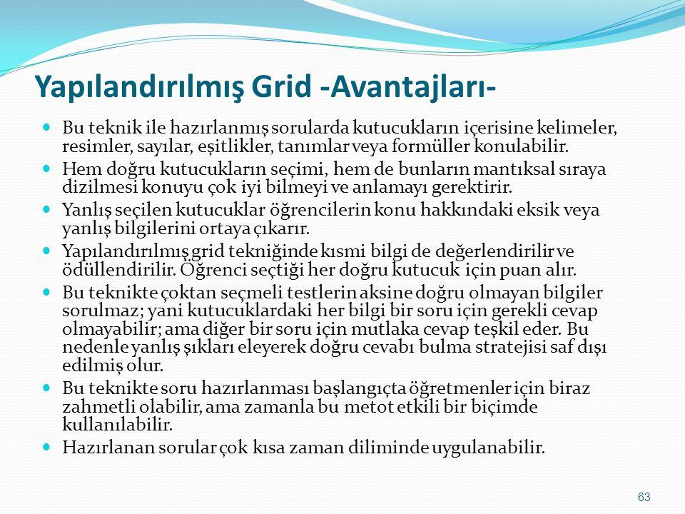 Yapılandırılmış Grid -Avantajları-