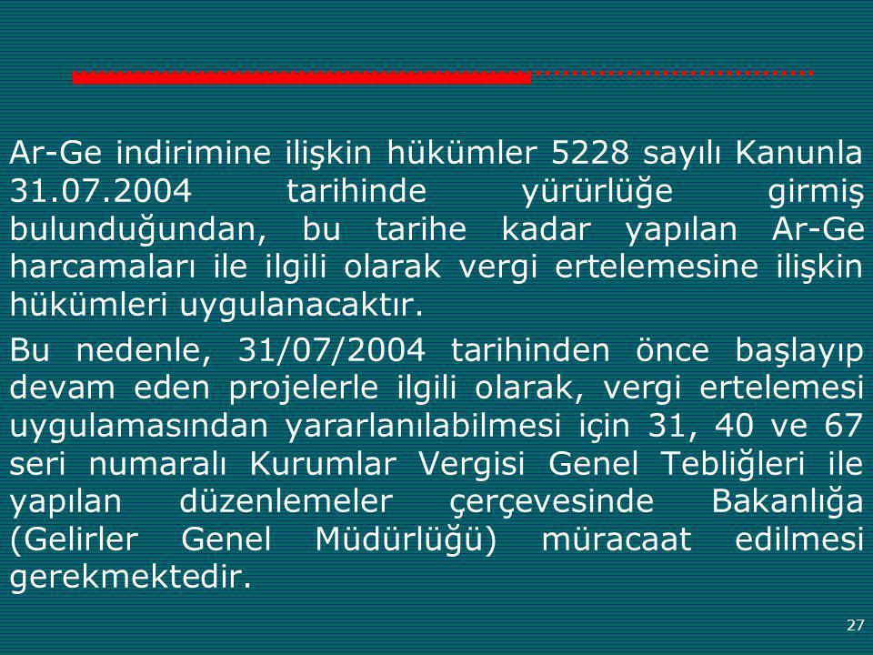 Ar-Ge indirimine ilişkin hükümler 5228 sayılı Kanunla 31. 07