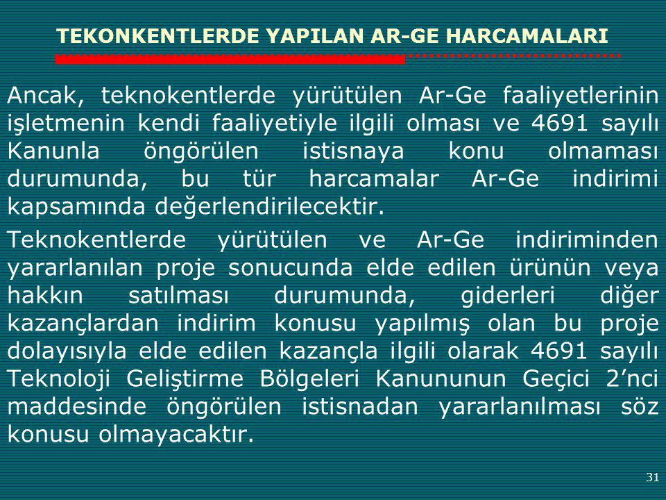 TEKONKENTLERDE YAPILAN AR-GE HARCAMALARI