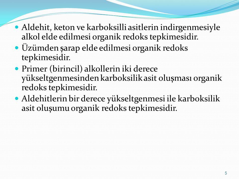 Aldehit, keton ve karboksilli asitlerin indirgenmesiyle alkol elde edilmesi organik redoks tepkimesidir.