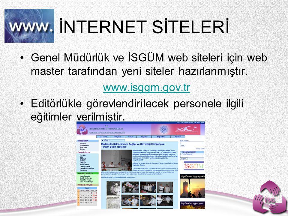 İNTERNET SİTELERİ Genel Müdürlük ve İSGÜM web siteleri için web master tarafından yeni siteler hazırlanmıştır.