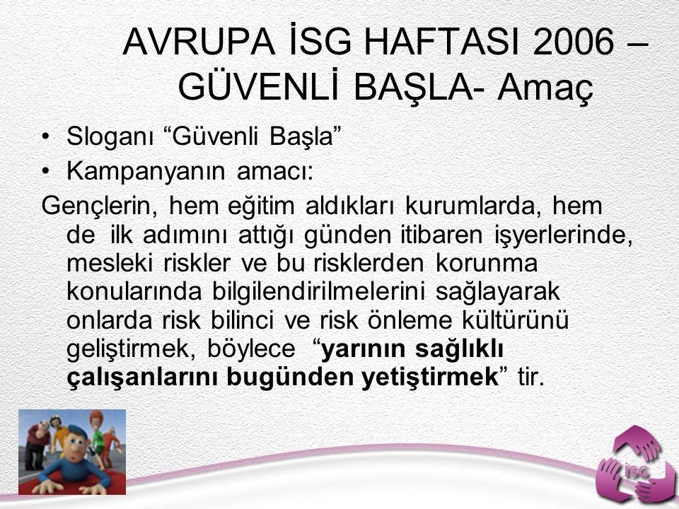 AVRUPA İSG HAFTASI 2006 –GÜVENLİ BAŞLA- Amaç