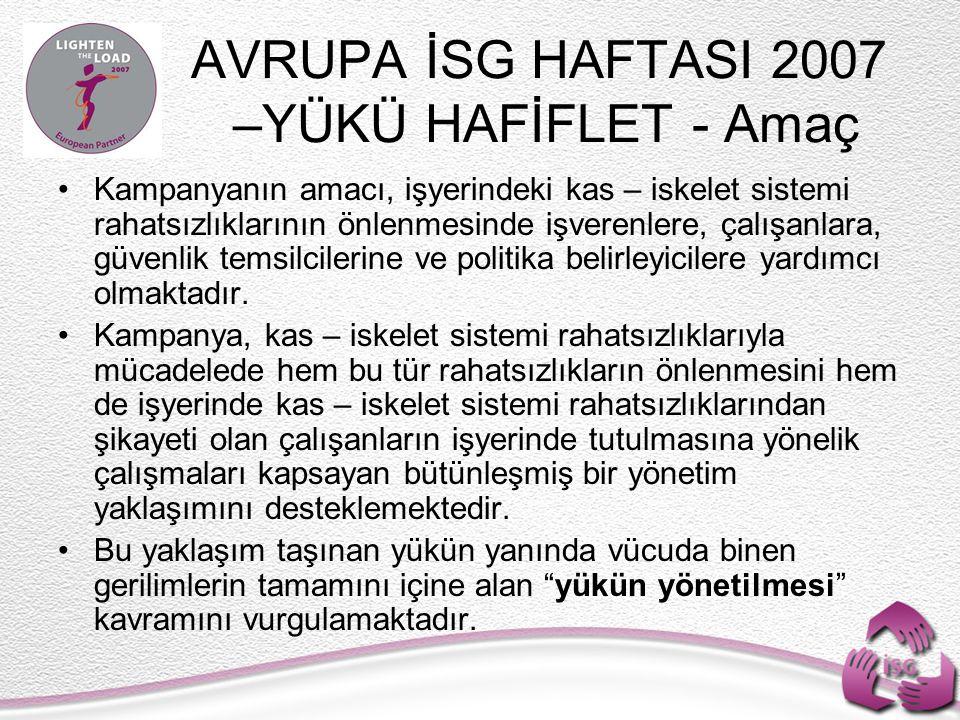 AVRUPA İSG HAFTASI 2007 –YÜKÜ HAFİFLET - Amaç