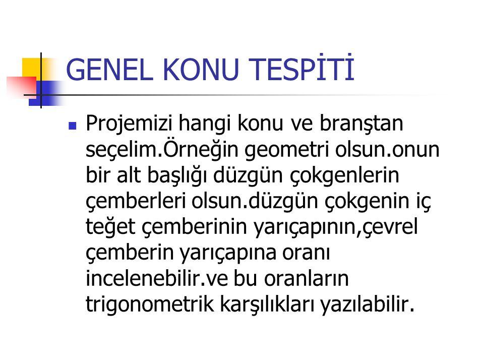 GENEL KONU TESPİTİ