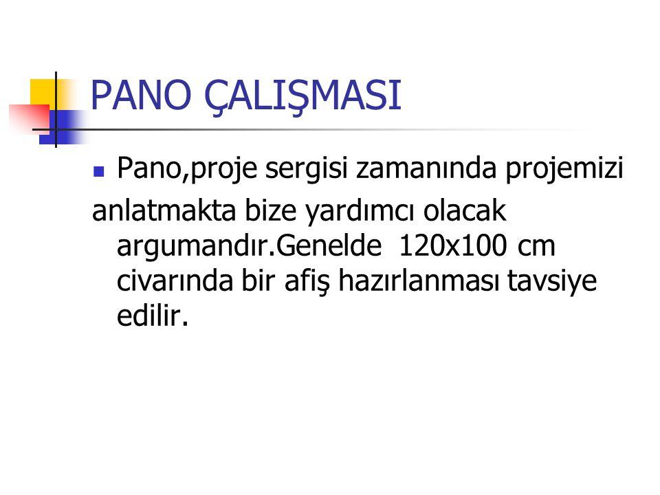 PANO ÇALIŞMASI Pano,proje sergisi zamanında projemizi