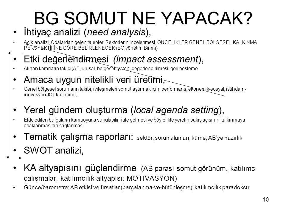 BG SOMUT NE YAPACAK İhtiyaç analizi (need analysis),
