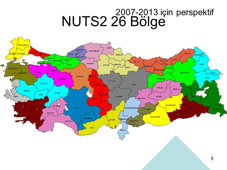 2007-2013 için perspektif NUTS2 26 Bölge