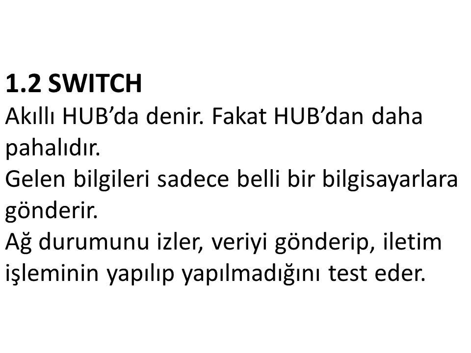 1. 2 SWITCH Akıllı HUB'da denir. Fakat HUB'dan daha pahalıdır