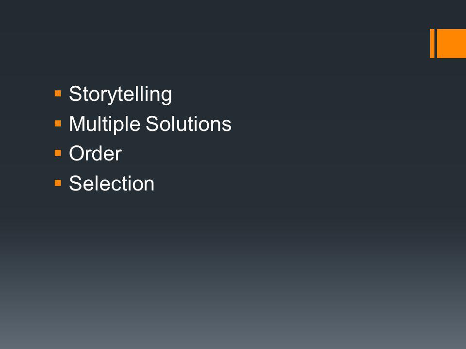 Storytelling Multiple Solutions Order Selection