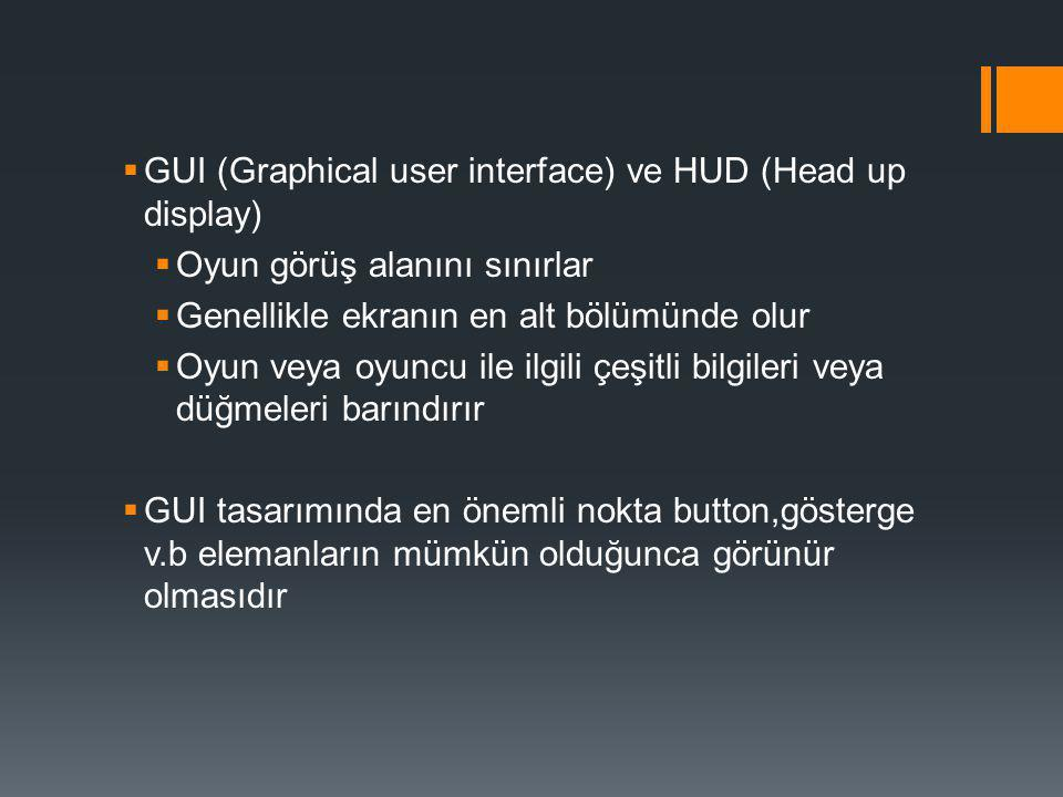 GUI (Graphical user interface) ve HUD (Head up display)