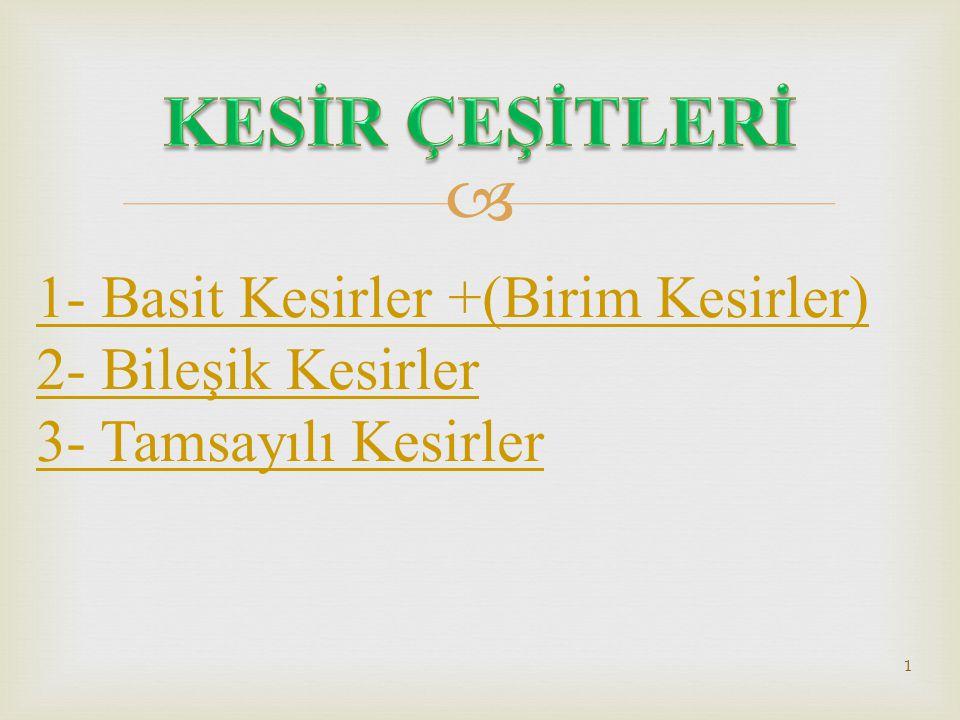 KESİR ÇEŞİTLERİ 1- Basit Kesirler +(Birim Kesirler)