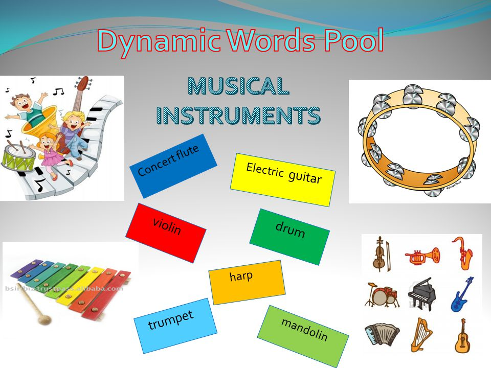 Dynamic Words Pool MUSICAL INSTRUMENTS Concert flute Electric guitar