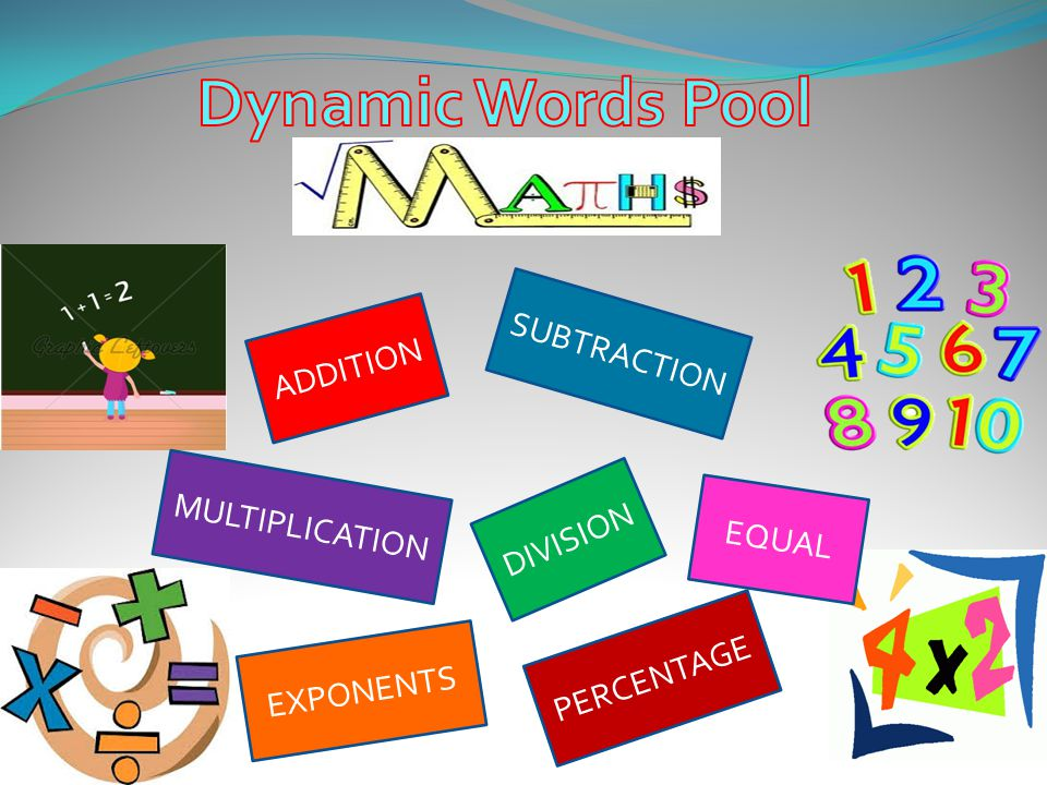 Dynamic Words Pool SUBTRACTION ADDITION MULTIPLICATION DIVISION EQUAL