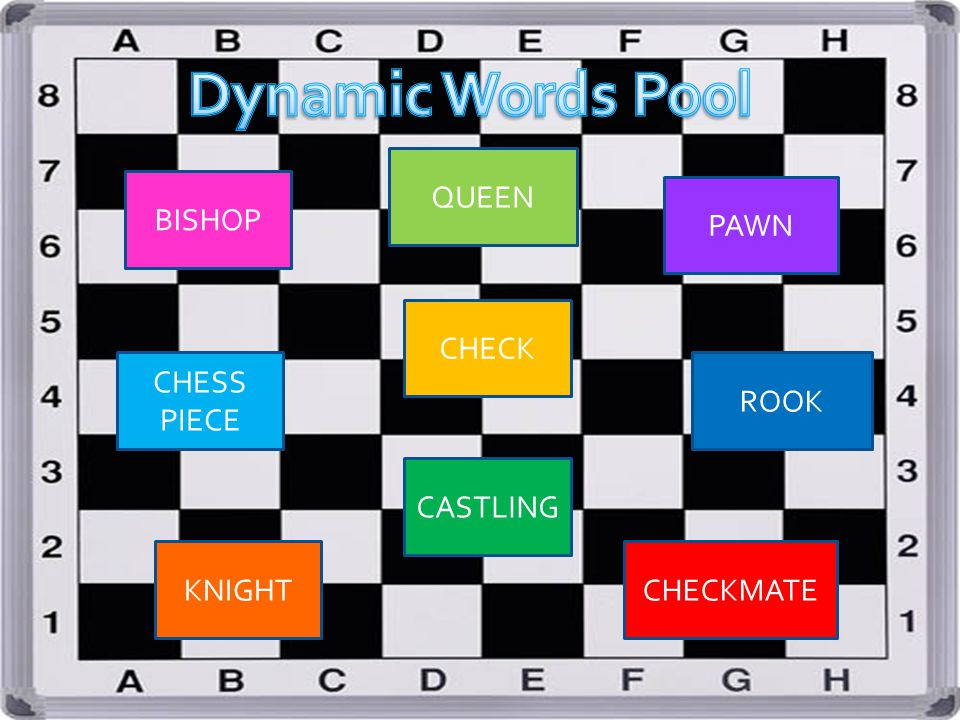 Dynamic Words Pool QUEEN BISHOP PAWN CHECK CHESS PIECE ROOK CASTLING