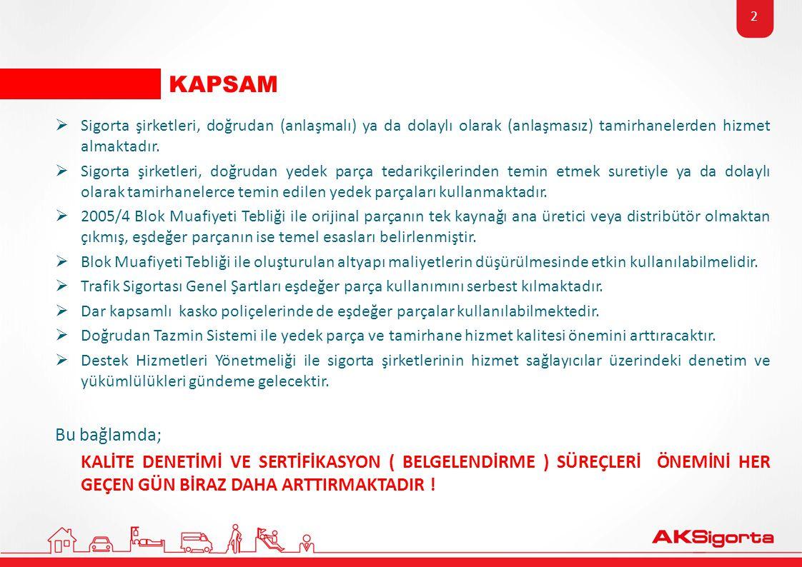 KAPSAM Sigorta şirketleri, doğrudan (anlaşmalı) ya da dolaylı olarak (anlaşmasız) tamirhanelerden hizmet almaktadır.