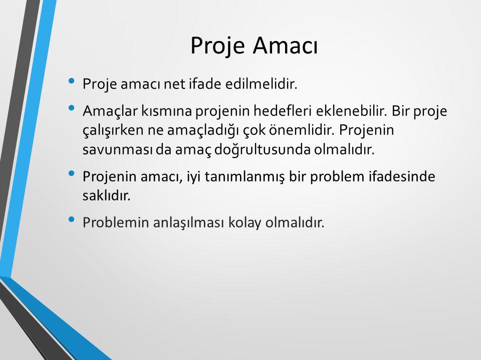 Proje Amacı Proje amacı net ifade edilmelidir.