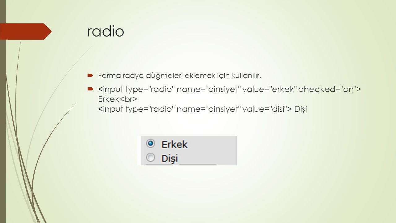 radio Forma radyo düğmeleri eklemek için kullanılır.
