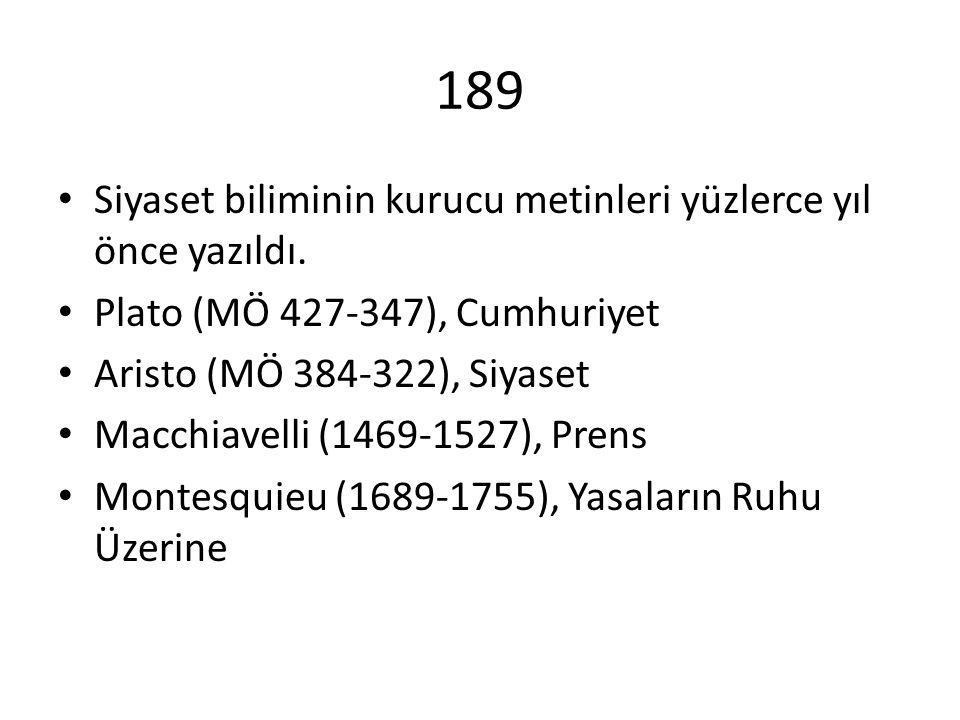 189 Siyaset biliminin kurucu metinleri yüzlerce yıl önce yazıldı.