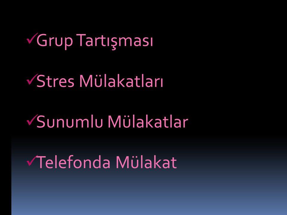Grup Tartışması Stres Mülakatları Sunumlu Mülakatlar Telefonda Mülakat
