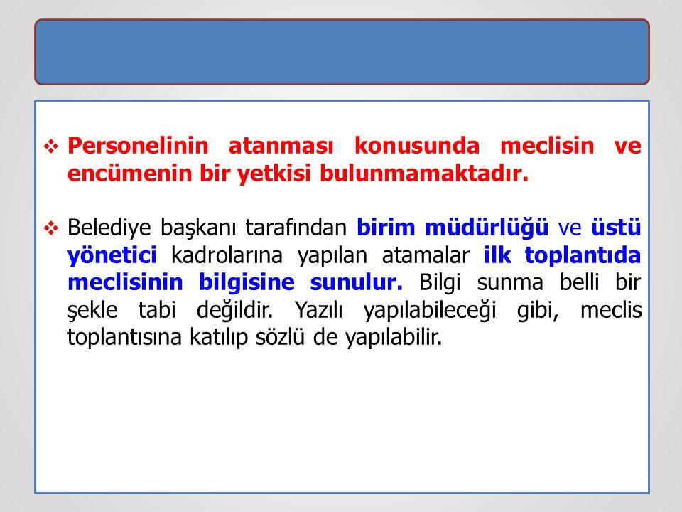 Personelinin atanması konusunda meclisin ve encümenin bir yetkisi bulunmamaktadır.