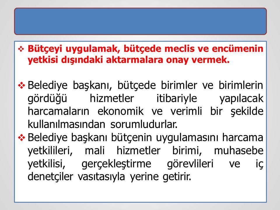 Bütçeyi uygulamak, bütçede meclis ve encümenin yetkisi dışındaki aktarmalara onay vermek.