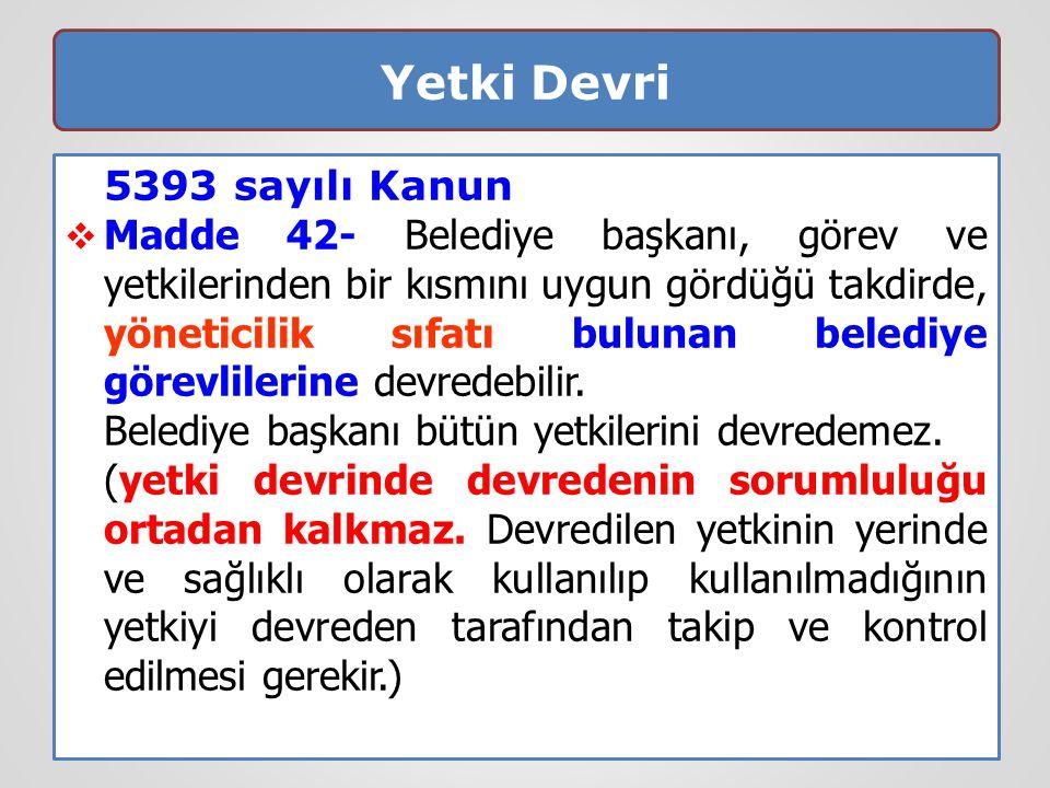 Yetki Devri 5393 sayılı Kanun