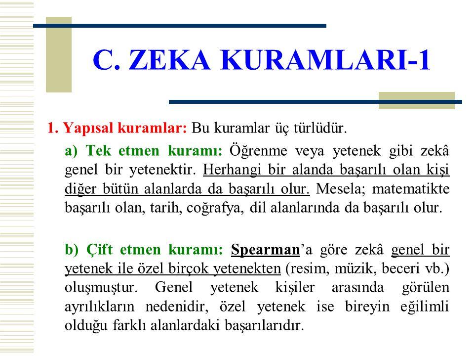C. ZEKA KURAMLARI-1 1. Yapısal kuramlar: Bu kuramlar üç türlüdür.