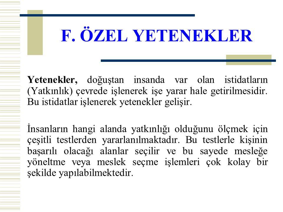 F. ÖZEL YETENEKLER