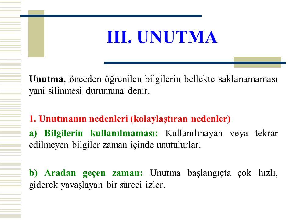 III. UNUTMA