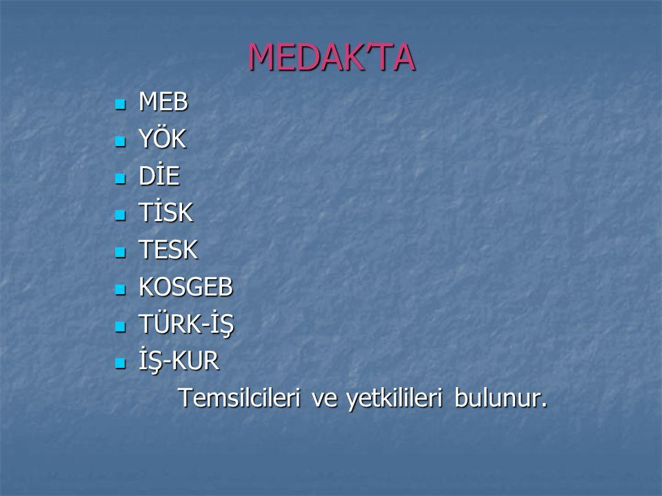 MEDAK'TA MEB YÖK DİE TİSK TESK KOSGEB TÜRK-İŞ İŞ-KUR