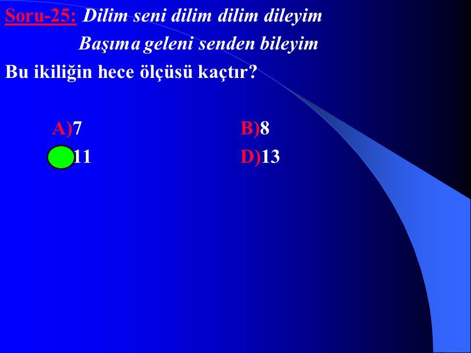 Soru-25: Dilim seni dilim dilim dileyim