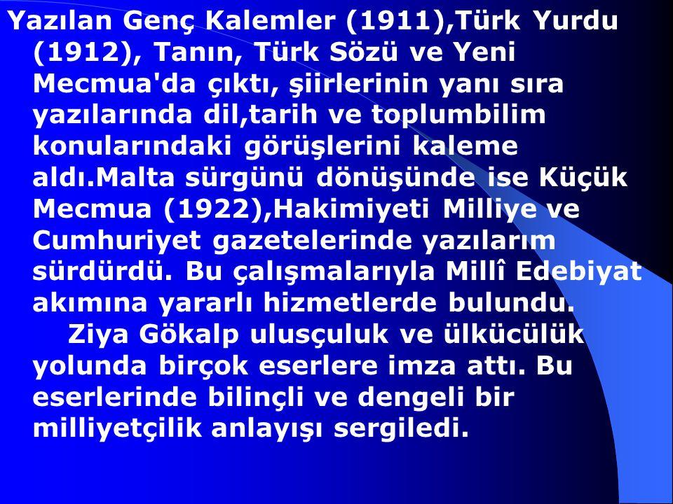 Yazılan Genç Kalemler (1911),Türk Yurdu (1912), Tanın, Türk Sözü ve Yeni Mecmua da çıktı, şiirlerinin yanı sıra yazılarında dil,tarih ve toplumbilim konularındaki görüşlerini kaleme aldı.Malta sürgünü dönüşünde ise Küçük Mecmua (1922),Hakimiyeti Milliye ve Cumhuriyet gazetelerinde yazılarım sürdürdü.