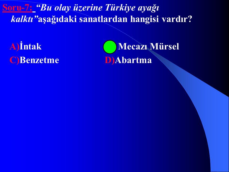 Soru-7: Bu olay üzerine Türkiye ayağı kalktı aşağıdaki sanatlardan hangisi vardır