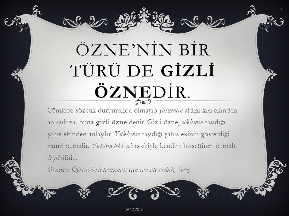 ÖZNE'NİN BİR TÜRÜ DE GİZLİ ÖZNEDİR.