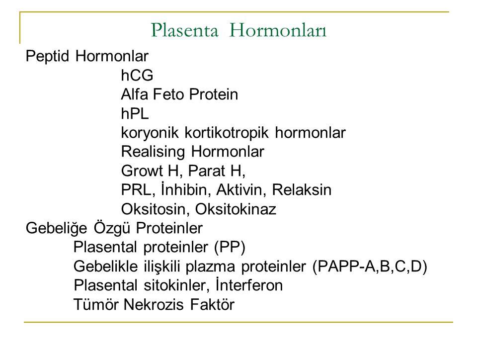 Plasenta Hormonları Peptid Hormonlar hCG Alfa Feto Protein hPL